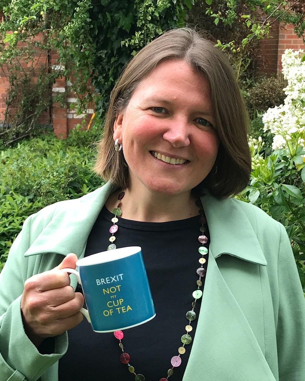 Ellie Chowns with EU mug